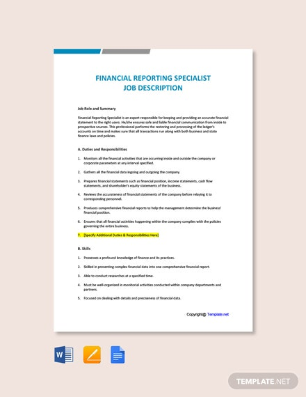 Free Financial Reporting Specialist Job Description Template