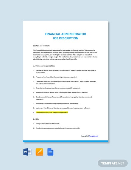 Free Financial Administrator Job Description Template