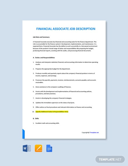 Free Financial Associate Job Description Template