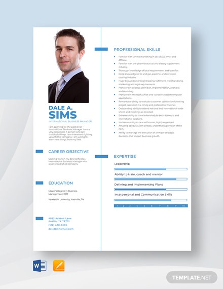 International Business Manager Resume Template