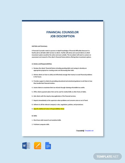 Free Financial Counselor Job Description Template