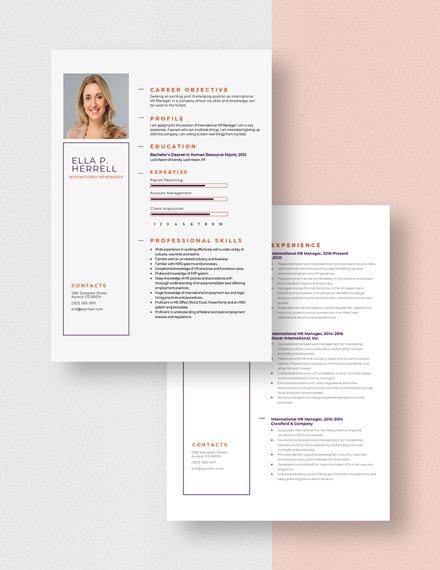International HR Manager Resume Download