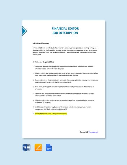Free Financial Editor Job Description Template