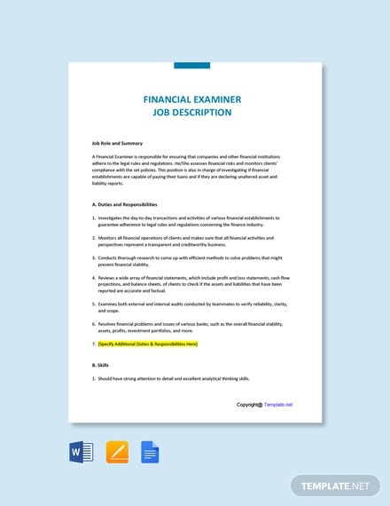 Free Financial Examiner Job Description Template