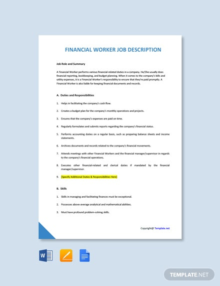 Free Financial Worker Job Description Template