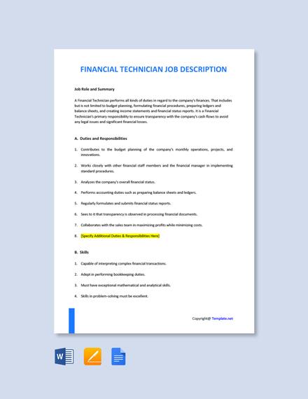 Free Financial Technician Job Ad/Description Template