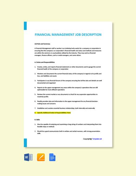 Free Financial Management Job Description Template