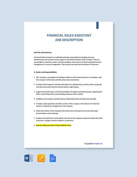 Free Financial Sales Assistant Job Ad/Description Template