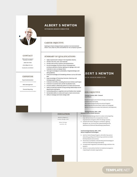 Interior Design Director Resume Download