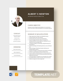 Interior Design Director Resume Template