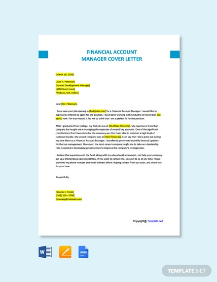 Free Financial Account Manager Cover Letter Template