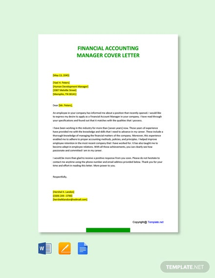 Financial Accounting Manager Cover Letter Template