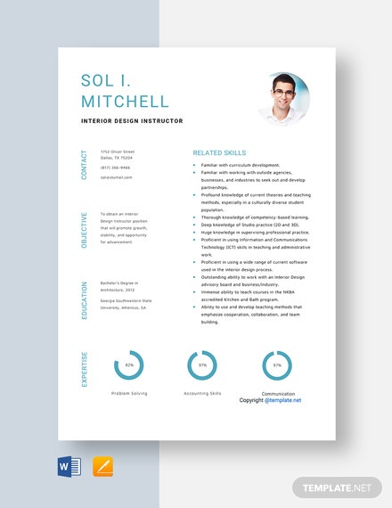 Free Interior Design Instructor Resume Template