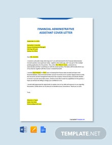 Free Financial Administrative Assistant Cover Letter Template