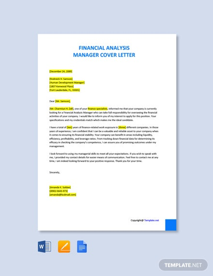 Free Financial Analysis Manager Cover Letter Template