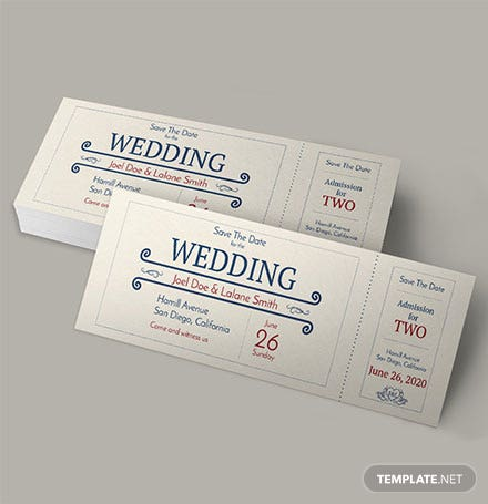 Free Wedding Admission Ticket Template