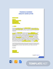 Free Financial Business Analyst Cover Letter Template