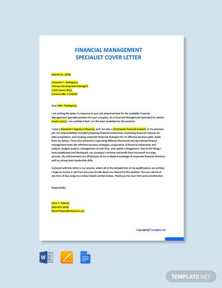 Financial Management Specialist Cover Letter Template