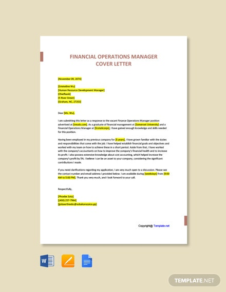 Free Financial Operations Manager Cover Letter Template