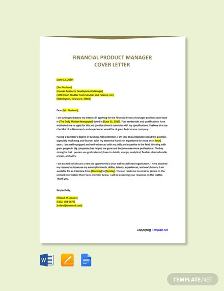 Financial Product Manager Cover Letter Template
