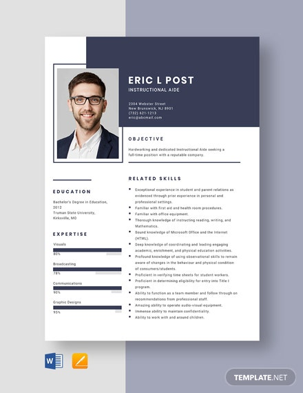 Instructional Aide Resume Template