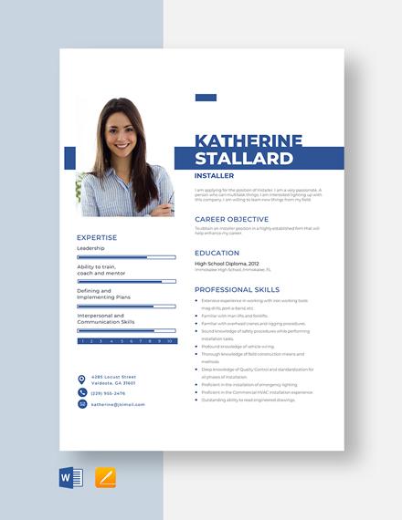 Installer Resume Template
