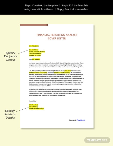 Financial Reporting Analyst Cover Letter Template