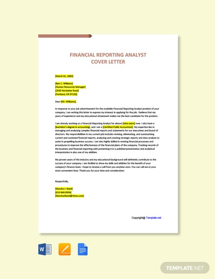 Free Financial Reporting Analyst Cover Letter Template