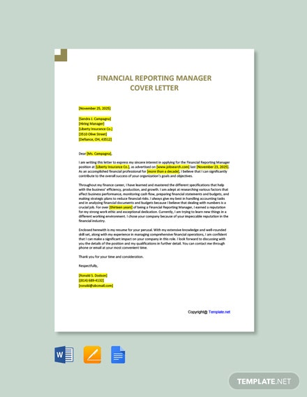 Free Financial Reporting Manager Cover Letter Template