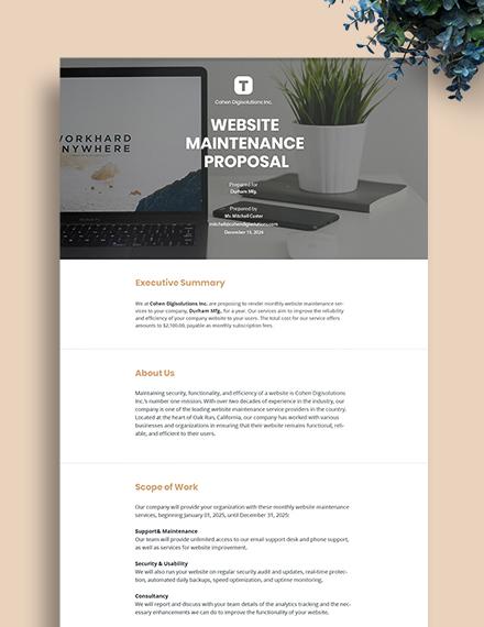 Website Maintenance Proposal Template