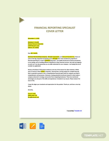Free Financial Reporting Specialist Cover Letter Template