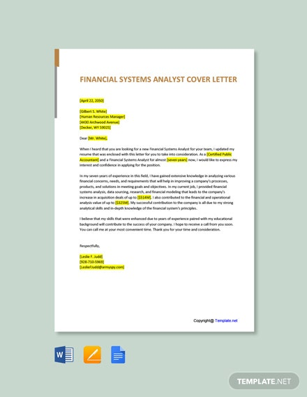 Free Financial Systems Analyst Cover Letter Template