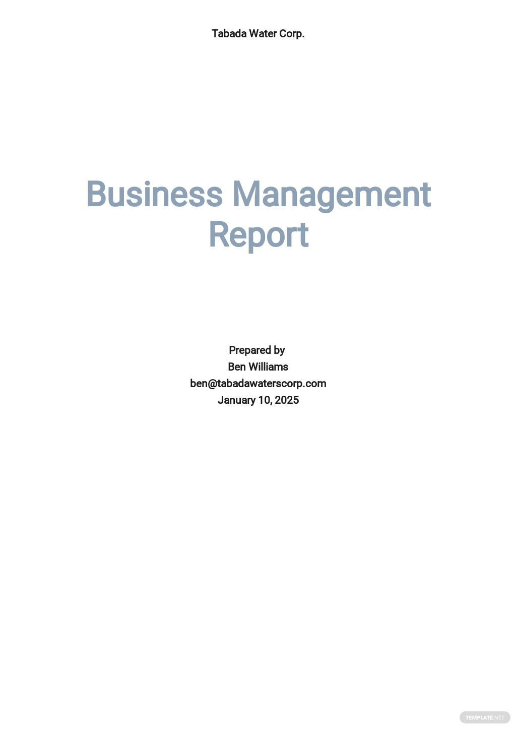 Business Management Report Template