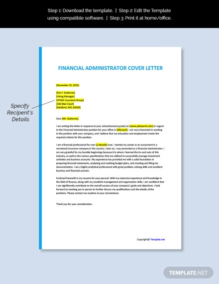 Free Financial Administrator Cover Letter Word Google Doc