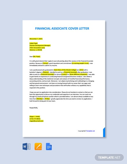 Free Financial Associate Cover Letter Template