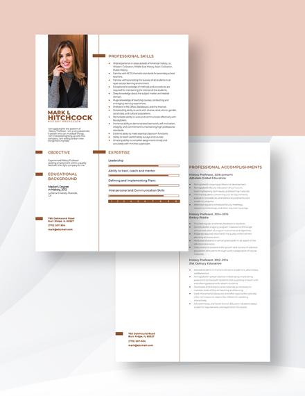 History Professor Resume Download