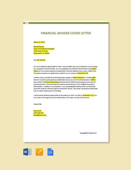 Free Financial Advisor Cover Letter Template