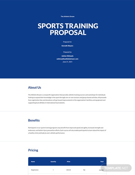 Editable Sports Training Proposal Template
