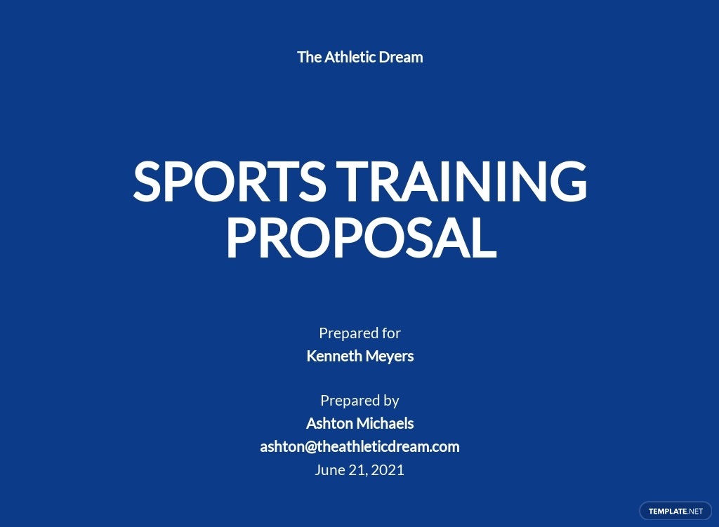 Sports Training Proposal Template