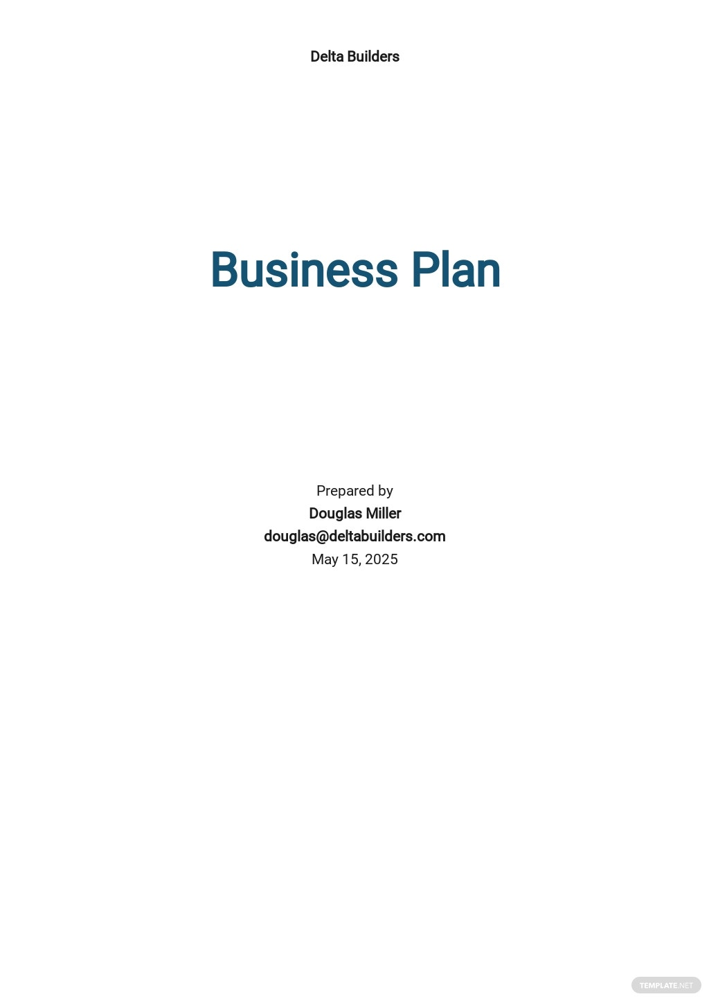 General Contracting Company Business Plan Template