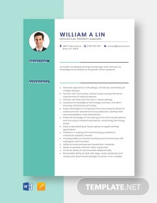 Intellectual Property Manager Resume Template