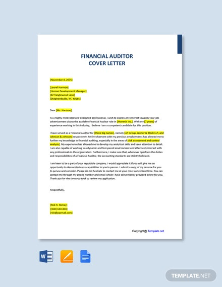 Free Financial Auditor Cover Letter Template