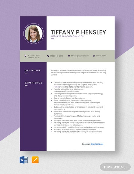 Free Intensive In-Home Counselor Resume Template