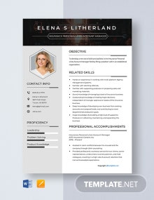 Free Insurance Personal Lines Account Manager  Resume Template