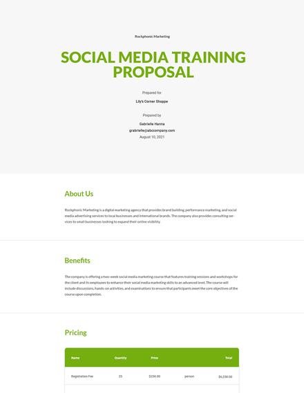 Editable Social Media Training Proposal Template
