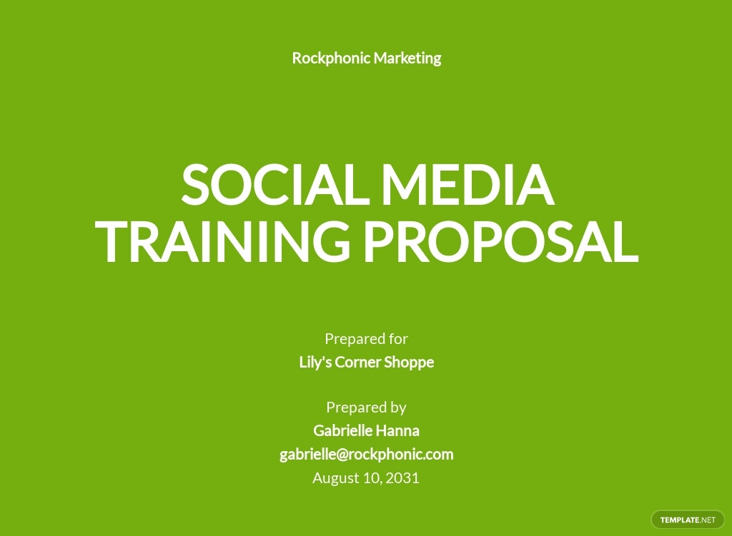 Social Media Training Proposal Template