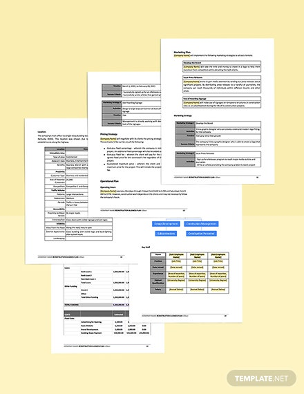Construction Contractor Business Plan Template printable