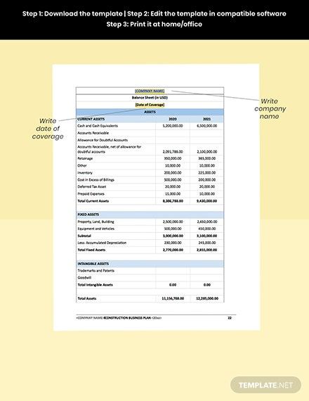 Construction Contractor Business Plan Template  snippet
