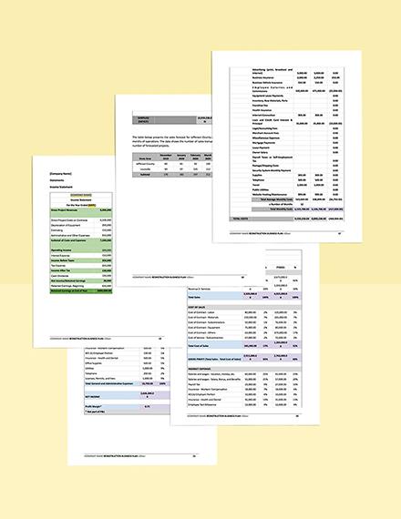 Construction Contractor Business Plan Template  editable