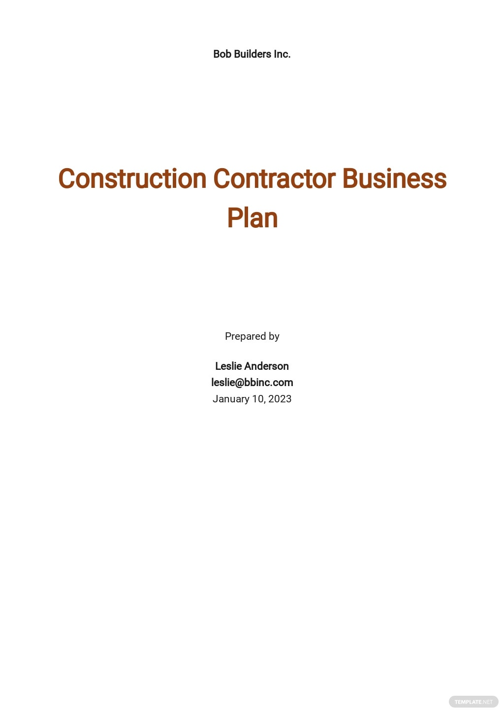 Construction Contractor Business Plan Template